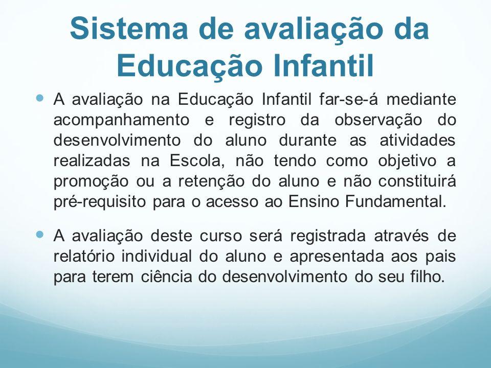 Sistema de avaliação da Educação Infantil A avaliação na Educação Infantil far-se-á mediante acompanhamento e registro da observação do desenvolviment