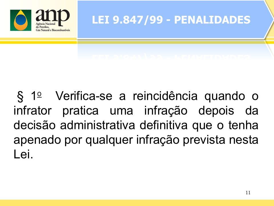 11 § 1 o Verifica-se a reincidência quando o infrator pratica uma infração depois da decisão administrativa definitiva que o tenha apenado por qualque