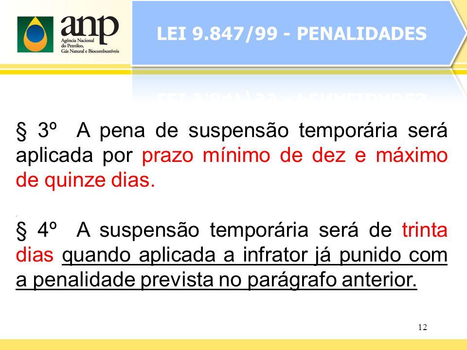 12. § 3º A pena de suspensão temporária será aplicada por prazo mínimo de dez e máximo de quinze dias. § 4º A suspensão temporária será de trinta dias