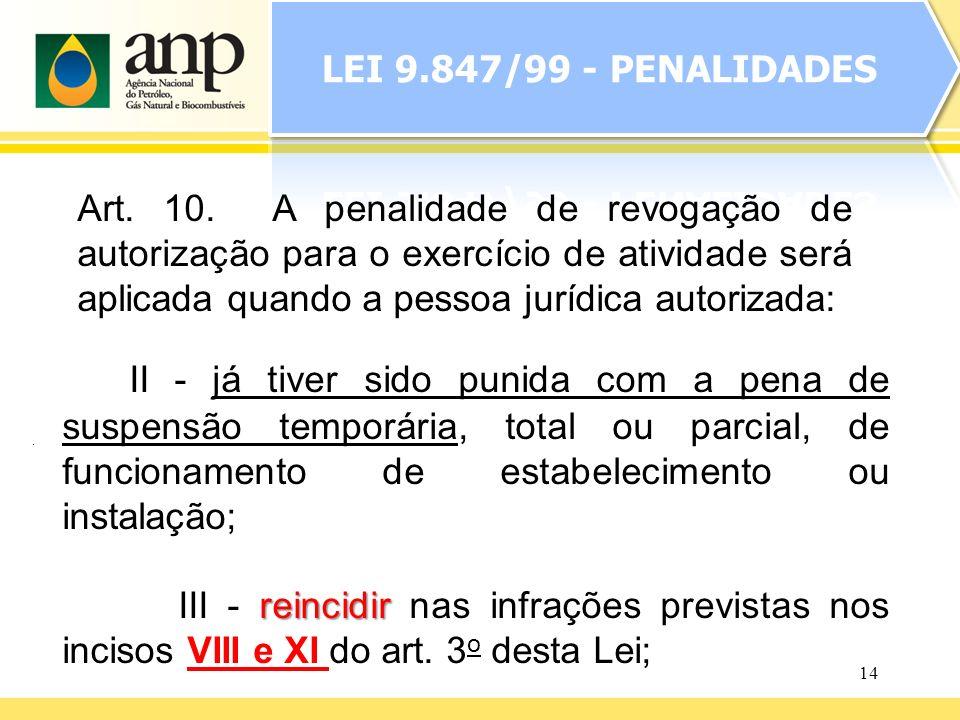 14 II - já tiver sido punida com a pena de suspensão temporária, total ou parcial, de funcionamento de estabelecimento ou instalação; reincidir III -