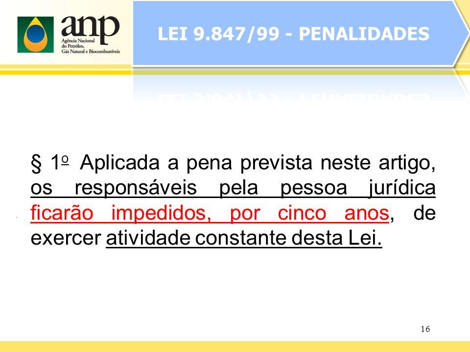 16 § 1 o Aplicada a pena prevista neste artigo, os responsáveis pela pessoa jurídica ficarão impedidos, por cinco anos, de exercer atividade constante
