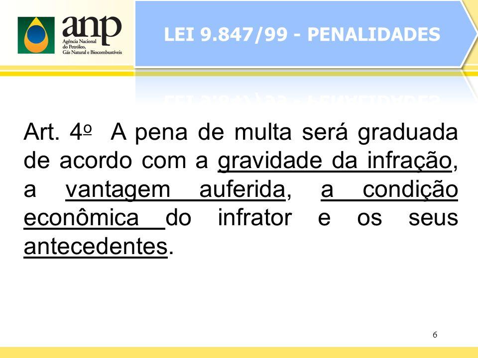 6 Art. 4 o A pena de multa será graduada de acordo com a gravidade da infração, a vantagem auferida, a condição econômica do infrator e os seus antece