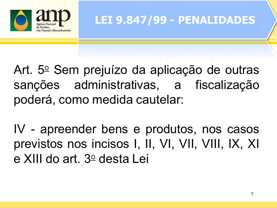 7 Art. 5 o Sem prejuízo da aplicação de outras sanções administrativas, a fiscalização poderá, como medida cautelar: IV - apreender bens e produtos, n