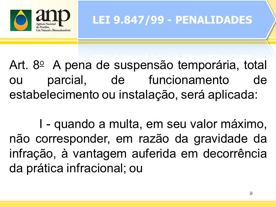 9 Art. 8 o A pena de suspensão temporária, total ou parcial, de funcionamento de estabelecimento ou instalação, será aplicada: I - quando a multa, em