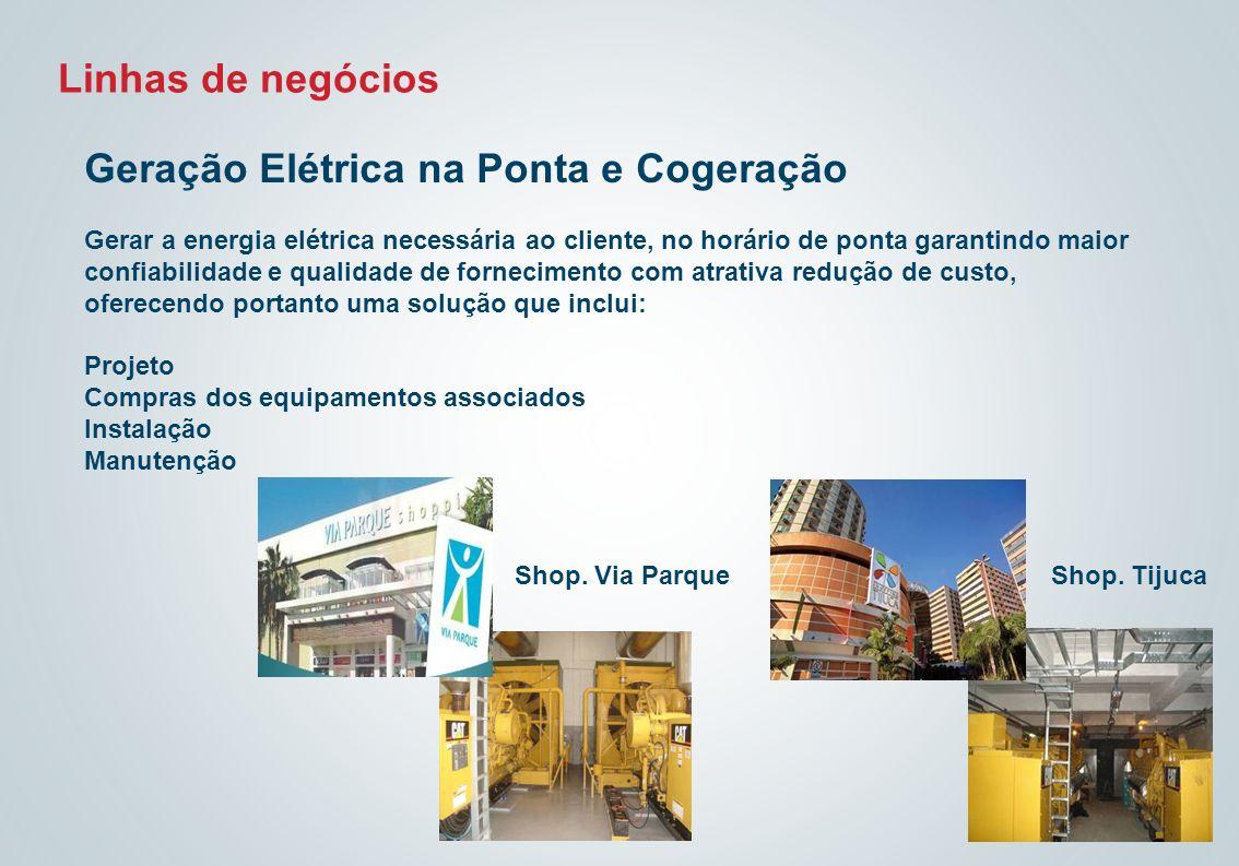 Linhas de negócios Geração Elétrica na Ponta e Cogeração Gerar a energia elétrica necessária ao cliente, no horário de ponta garantindo maior confiabi