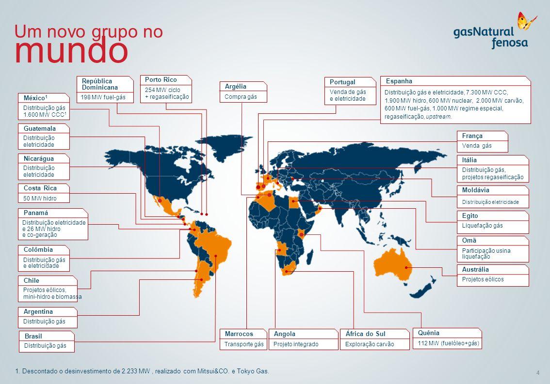4 1. Descontado o desinvestimento de 2.233 MW, realizado com Mitsui&CO. e Tokyo Gas. Um novo grupo no mundo Distribuição gás 1.600 MW CCC 1 México 1 D
