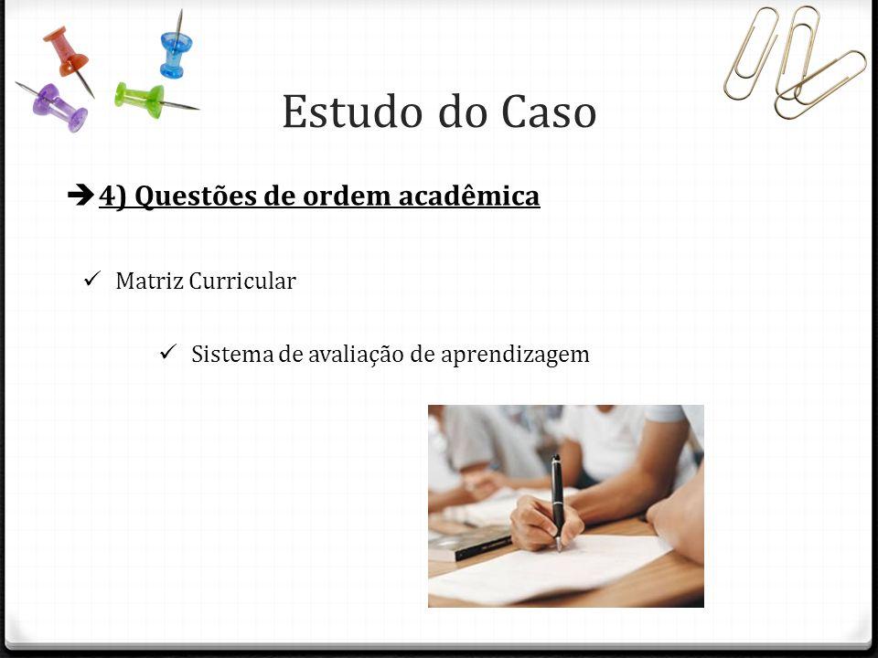 4) Questões de ordem acadêmica Matriz Curricular Sistema de avaliação de aprendizagem Estudo do Caso