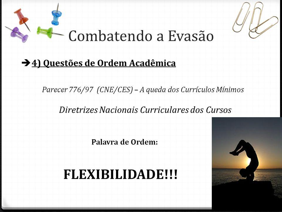 4) Questões de Ordem Acadêmica Parecer 776/97 (CNE/CES) – A queda dos Currículos Mínimos Palavra de Ordem: FLEXIBILIDADE!!! Diretrizes Nacionais Curri