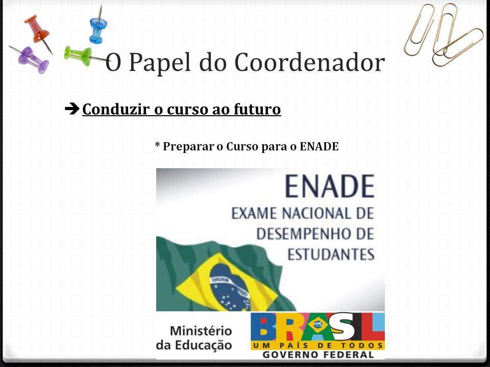 O Papel do Coordenador Conduzir o curso ao futuro * Preparar o Curso para o ENADE