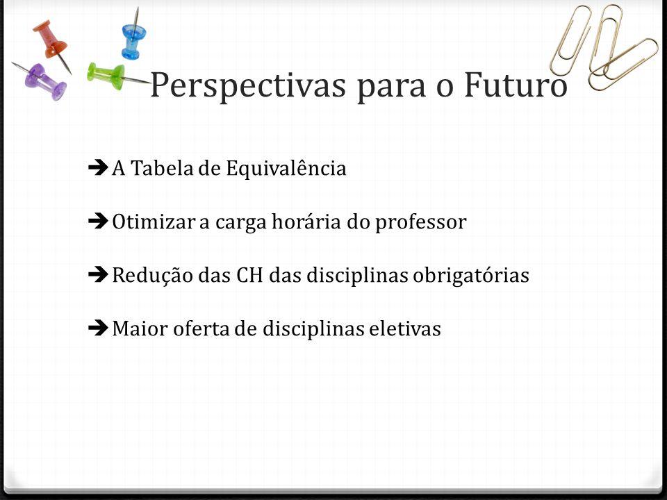 Perspectivas para o Futuro A Tabela de Equivalência Otimizar a carga horária do professor Redução das CH das disciplinas obrigatórias Maior oferta de