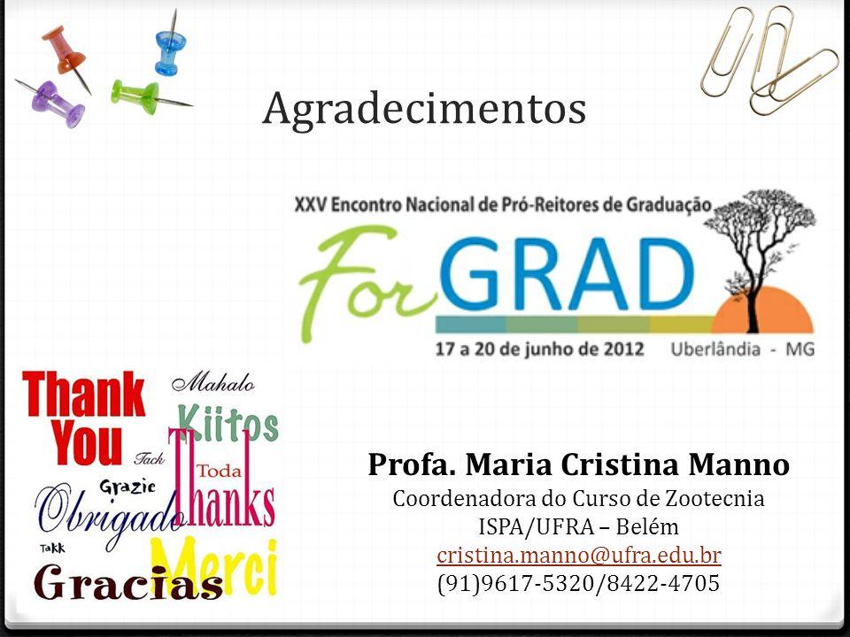 Agradecimentos Profa. Maria Cristina Manno Coordenadora do Curso de Zootecnia ISPA/UFRA – Belém cristina.manno@ufra.edu.br (91)9617-5320/8422-4705
