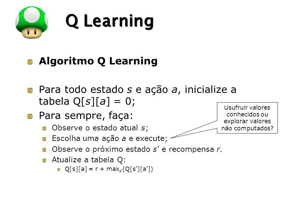 LOGO Q Learning Algoritmo Q Learning Para todo estado s e ação a, inicialize a tabela Q[s][a] = 0; Para sempre, faça: Observe o estado atual s; Escolh