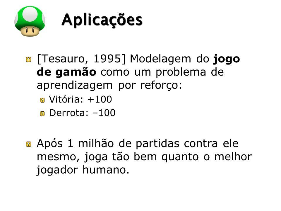 LOGO Aplicações [Tesauro, 1995] Modelagem do jogo de gamão como um problema de aprendizagem por reforço: Vitória: +100 Derrota: –100 Após 1 milhão de