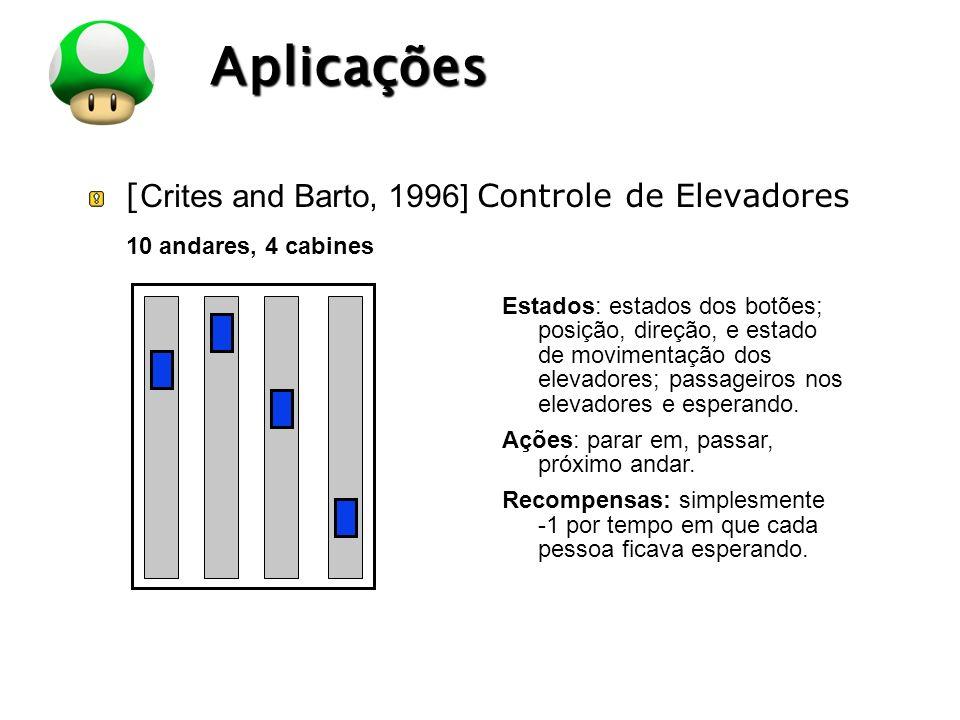 LOGO Aplicações [ Crites and Barto, 1996] Controle de Elevadores 10 andares, 4 cabines Estados: estados dos botões; posição, direção, e estado de movi