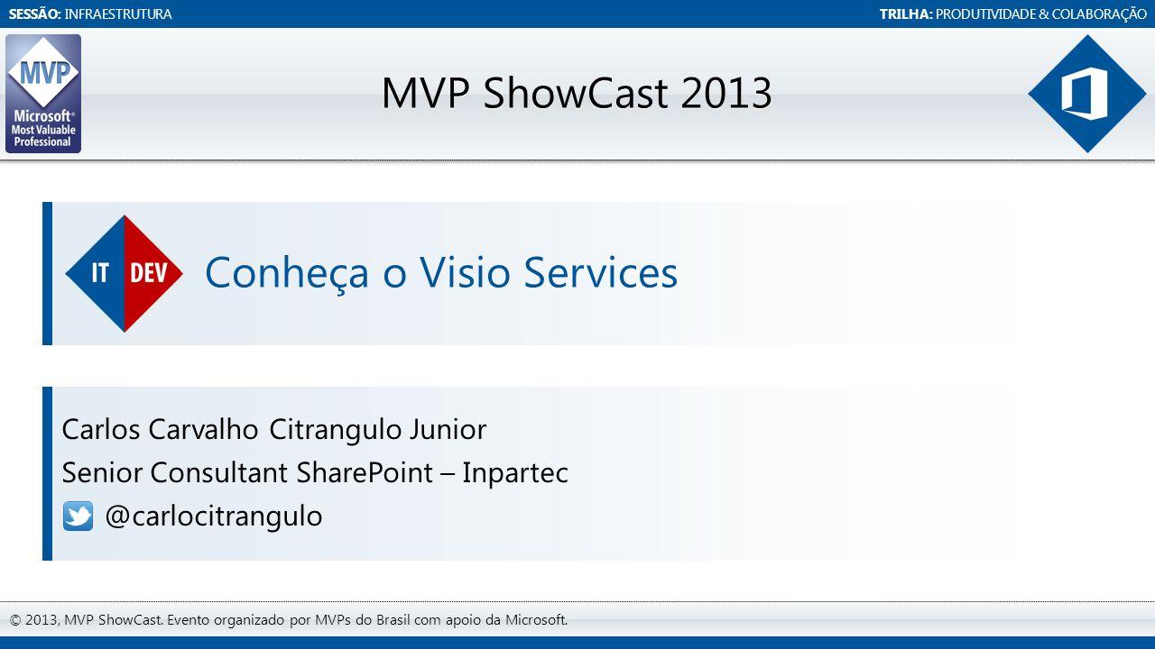 SESSÃO: INFRAESTRUTURATRILHA: PRODUTIVIDADE & COLABORAÇÃO © 2013, MVP ShowCast. Evento organizado por MVPs do Brasil com apoio da Microsoft. MVP ShowC