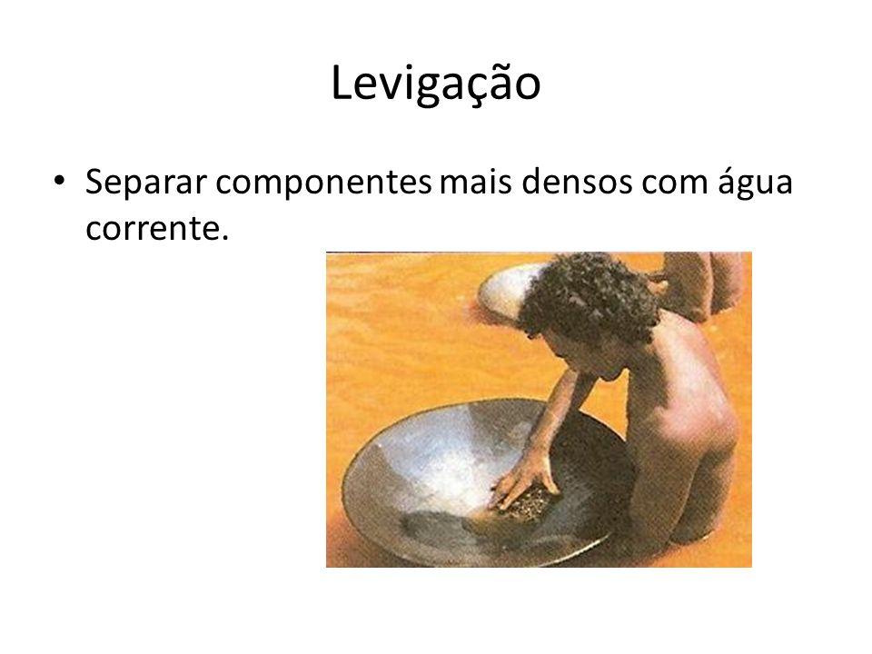Levigação Separar componentes mais densos com água corrente.