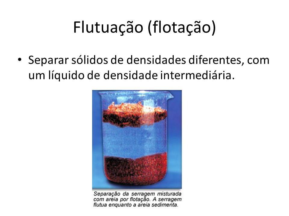 Flutuação (flotação) Separar sólidos de densidades diferentes, com um líquido de densidade intermediária.