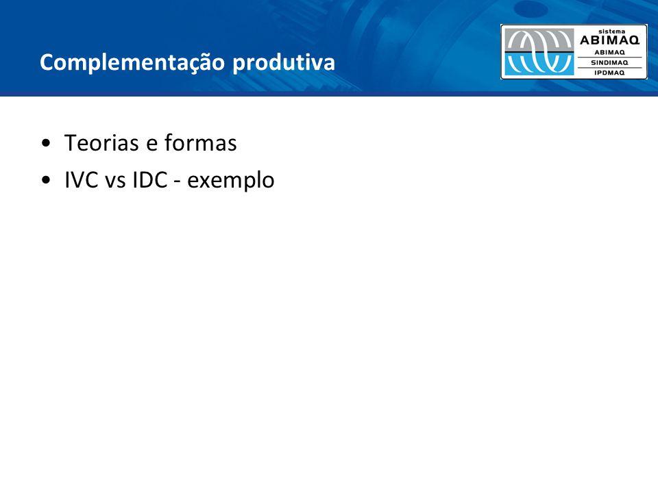Complementação produtiva Teorias e formas IVC vs IDC - exemplo