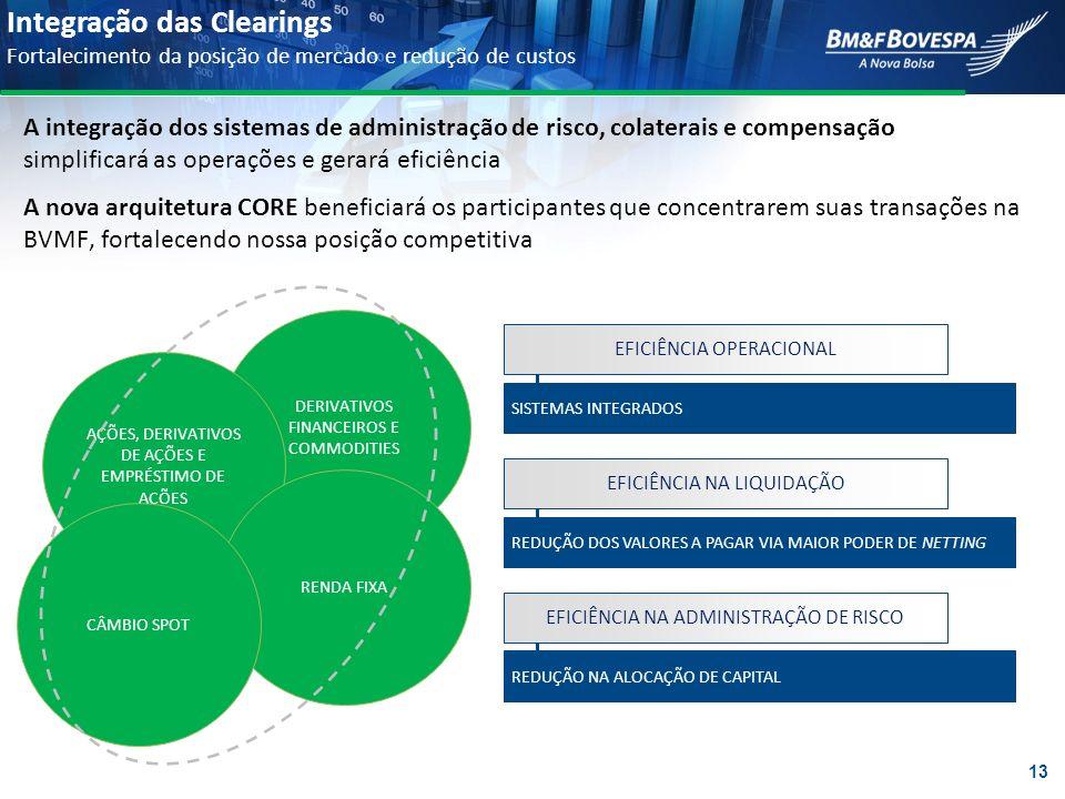 Integração das Clearings Fortalecimento da posição de mercado e redução de custos DERIVATIVOS FINANCEIROS E COMMODITIES AÇÕES, DERIVATIVOS DE AÇÕES E