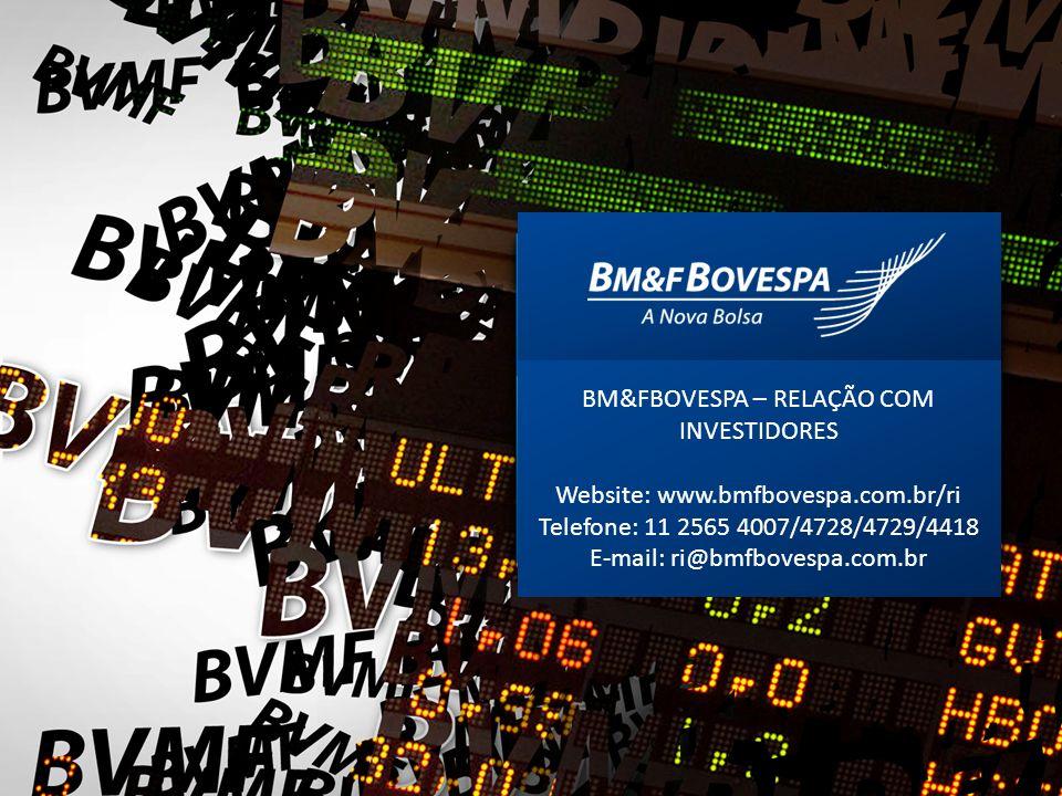 BM&FBOVESPA – RELAÇÃO COM INVESTIDORES Website: www.bmfbovespa.com.br/ri Telefone: 11 2565 4007/4728/4729/4418 E-mail: ri@bmfbovespa.com.br