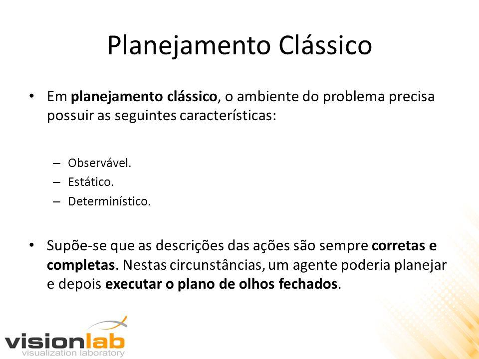 Planejamento Clássico Em planejamento clássico, o ambiente do problema precisa possuir as seguintes características: – Observável. – Estático. – Deter