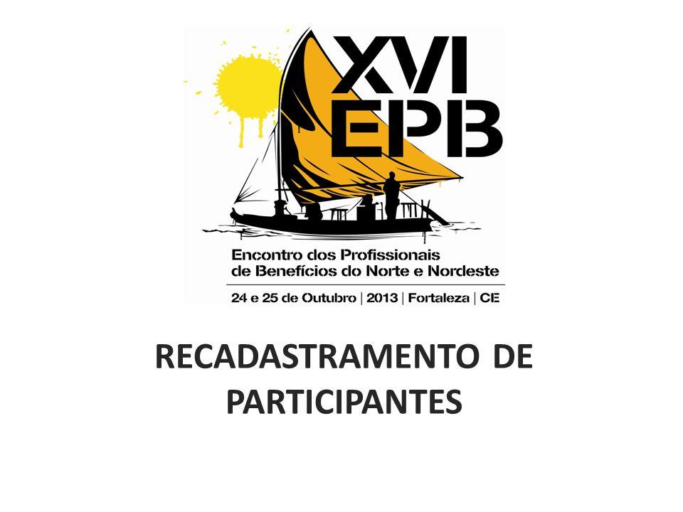RECADASTRAMENTO DE PARTICIPANTES