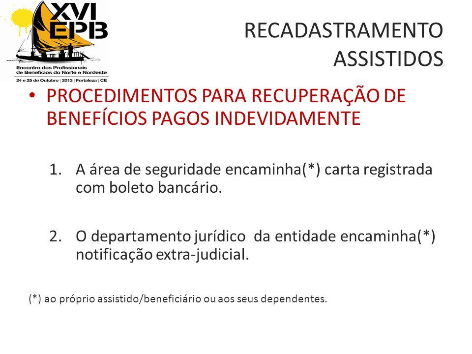 RECADASTRAMENTO ASSISTIDOS PROCEDIMENTOS PARA RECUPERAÇÃO DE BENEFÍCIOS PAGOS INDEVIDAMENTE 1.A área de seguridade encaminha(*) carta registrada com boleto bancário.