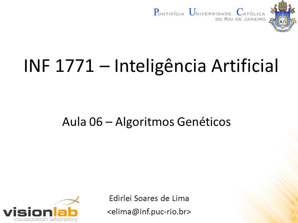 Algoritmos Genéticos – Exemplo 2 Mutação: – Individuo (3 5 7 2 1 6 4 8) Escolhem-se dois elementos aleatórios dentro do cromossomo e trocam-se as suas posições: (3 5 7 2 1 6 4 8) Novo individuo mutante: (3 1 7 2 5 6 4 8)