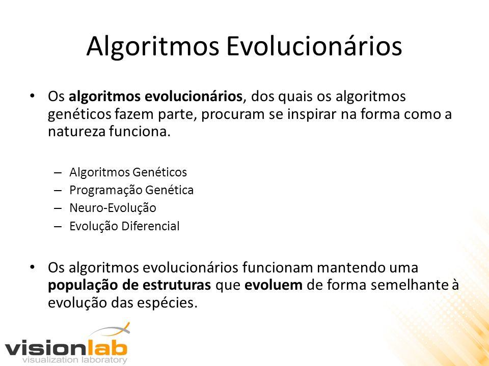 Algoritmos Evolucionários Os algoritmos evolucionários, dos quais os algoritmos genéticos fazem parte, procuram se inspirar na forma como a natureza f