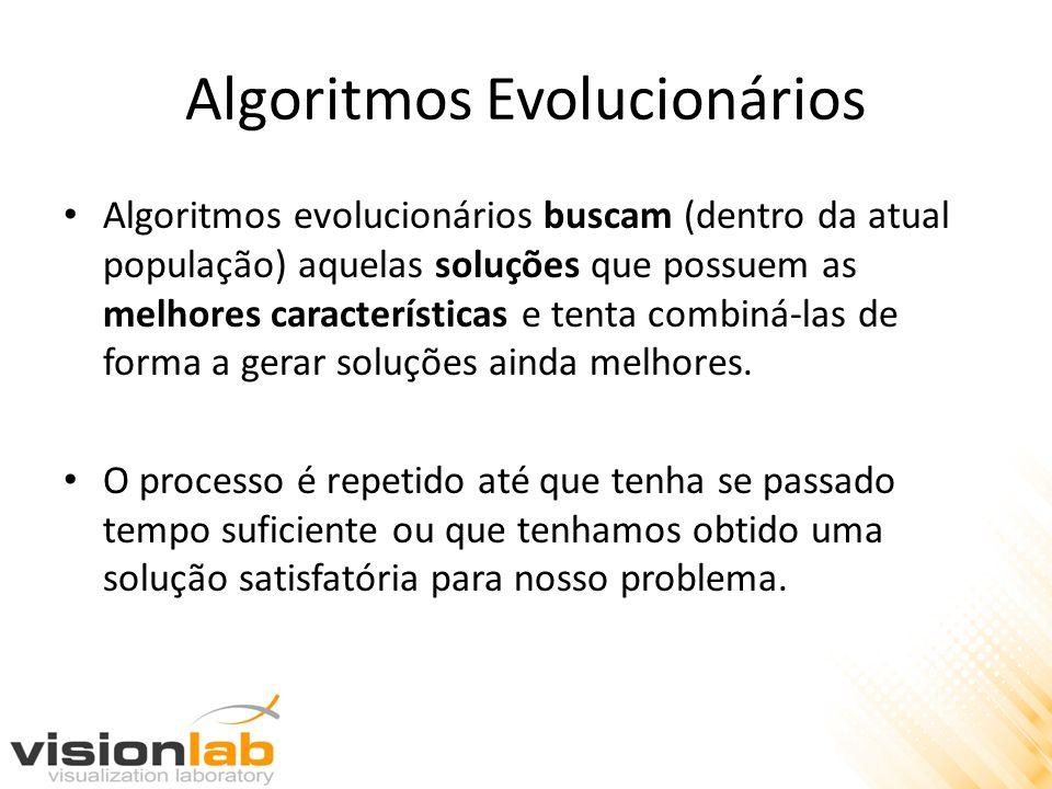 Algoritmos Evolucionários Algoritmos evolucionários buscam (dentro da atual população) aquelas soluções que possuem as melhores características e tent