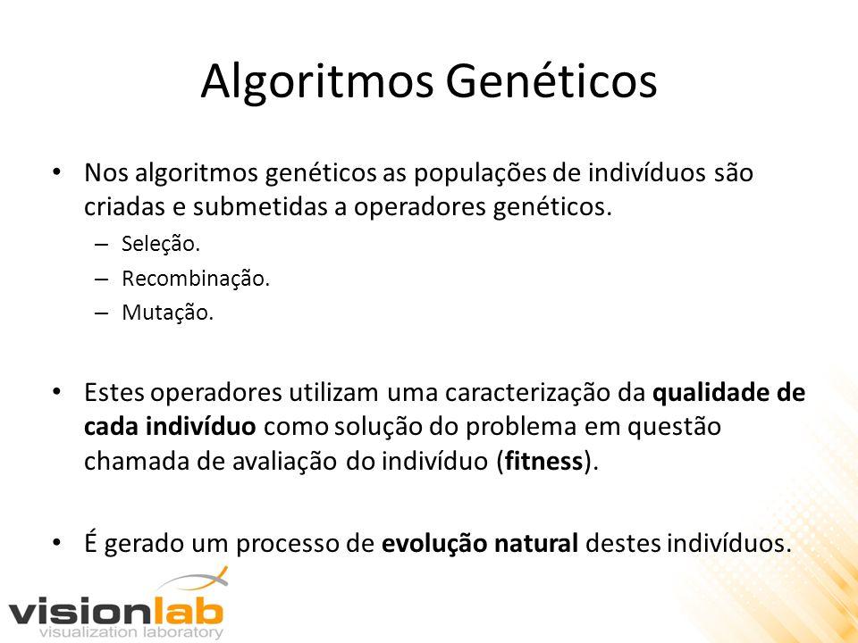 Algoritmos Genéticos Nos algoritmos genéticos as populações de indivíduos são criadas e submetidas a operadores genéticos. – Seleção. – Recombinação.