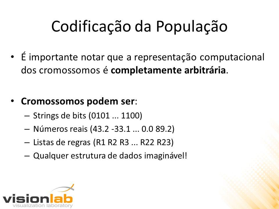 Codificação da População É importante notar que a representação computacional dos cromossomos é completamente arbitrária. Cromossomos podem ser: – Str