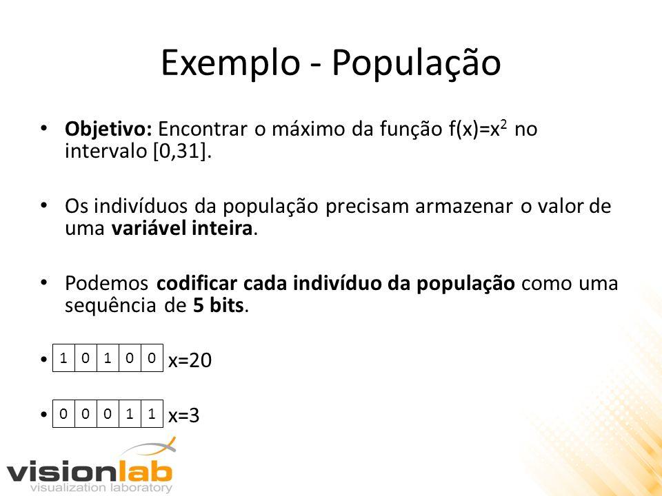 Exemplo - População Objetivo: Encontrar o máximo da função f(x)=x 2 no intervalo [0,31]. Os indivíduos da população precisam armazenar o valor de uma