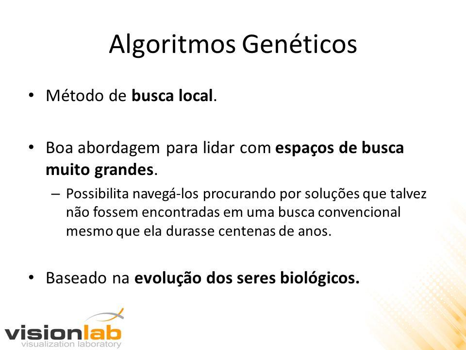 Algoritmos Genéticos Método de busca local. Boa abordagem para lidar com espaços de busca muito grandes. – Possibilita navegá-los procurando por soluç