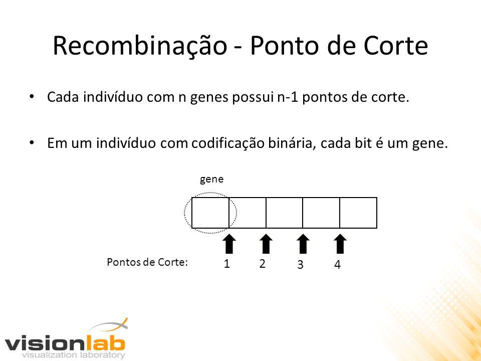 Recombinação - Ponto de Corte Cada indivíduo com n genes possui n-1 pontos de corte. Em um indivíduo com codificação binária, cada bit é um gene. gene