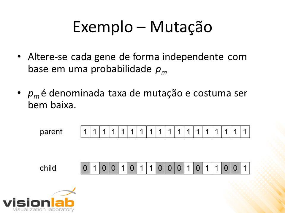 Exemplo – Mutação Altere-se cada gene de forma independente com base em uma probabilidade p m p m é denominada taxa de mutação e costuma ser bem baixa