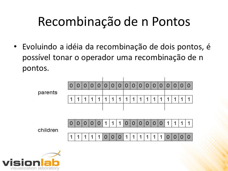 Recombinação de n Pontos Evoluindo a idéia da recombinação de dois pontos, é possível tonar o operador uma recombinação de n pontos.