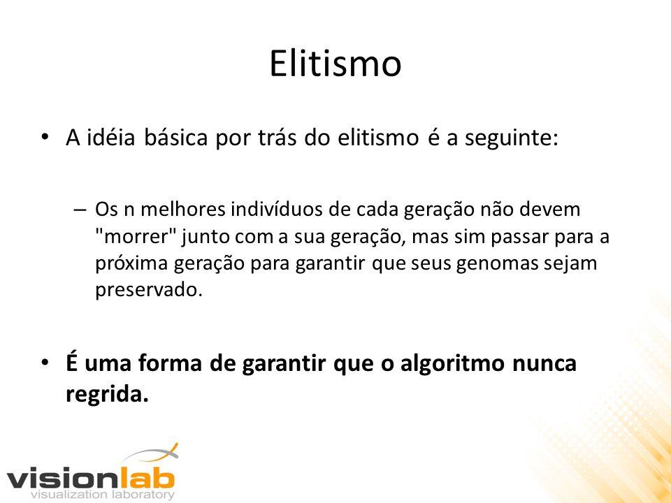 Elitismo A idéia básica por trás do elitismo é a seguinte: – Os n melhores indivíduos de cada geração não devem