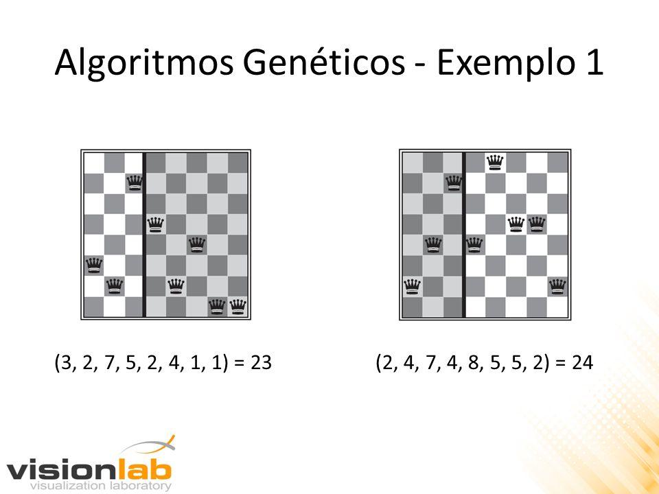 (3, 2, 7, 5, 2, 4, 1, 1) = 23 (2, 4, 7, 4, 8, 5, 5, 2) = 24 Algoritmos Genéticos - Exemplo 1
