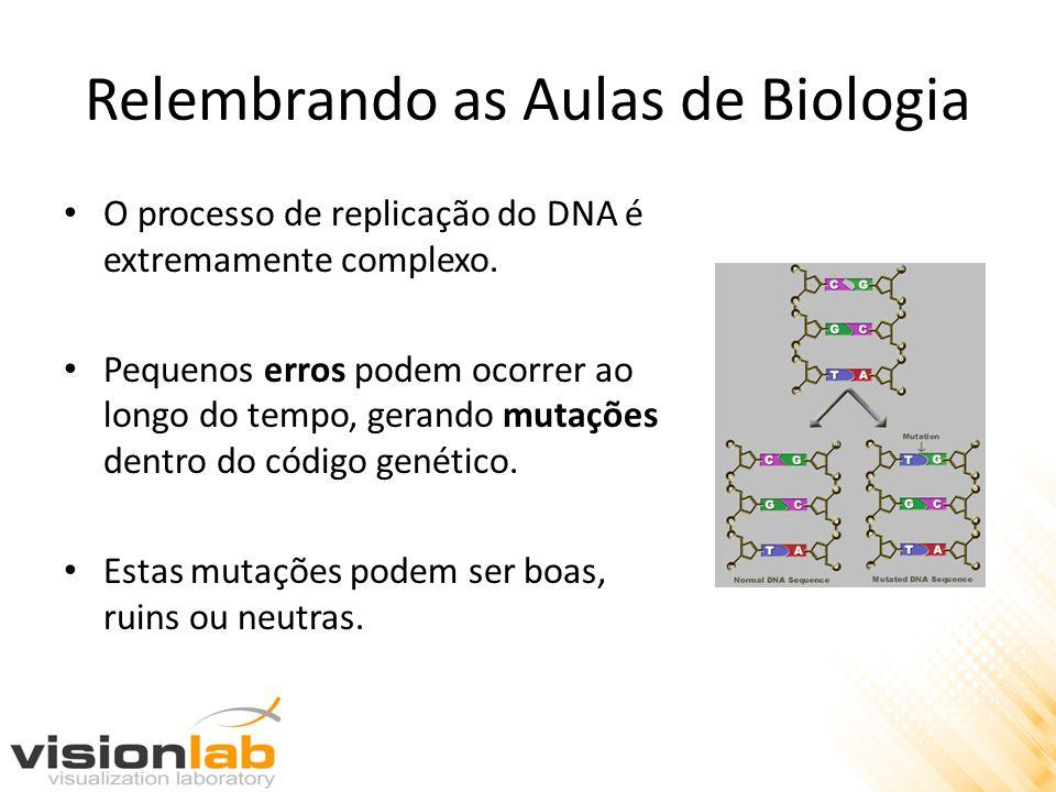Relembrando as Aulas de Biologia O processo de replicação do DNA é extremamente complexo. Pequenos erros podem ocorrer ao longo do tempo, gerando muta