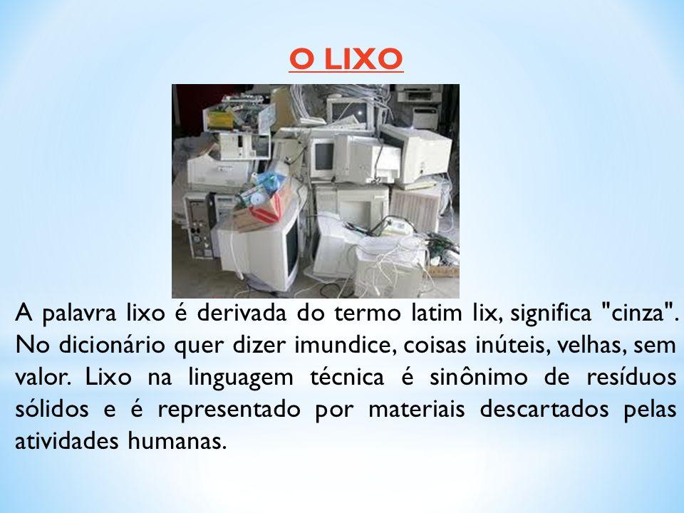O LIXO A palavra lixo é derivada do termo latim lix, significa