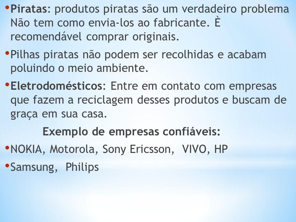 Piratas: produtos piratas são um verdadeiro problema Não tem como envia-los ao fabricante. È recomendável comprar originais. Pilhas piratas não podem