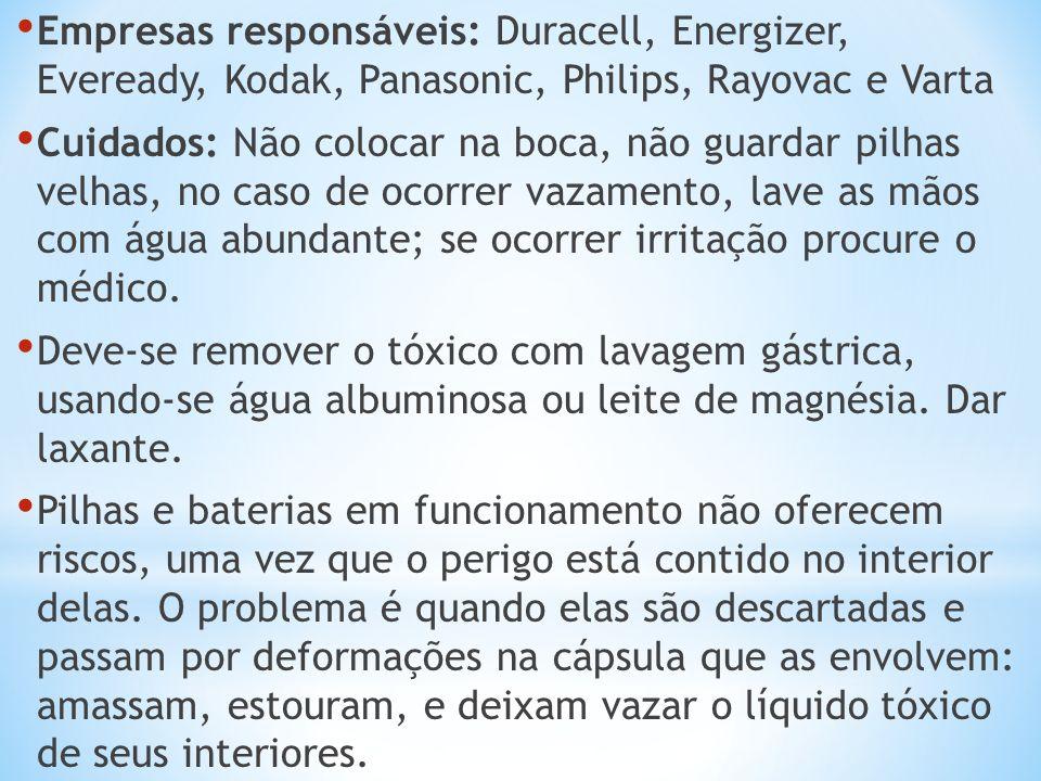 Empresas responsáveis: Duracell, Energizer, Eveready, Kodak, Panasonic, Philips, Rayovac e Varta Cuidados: Não colocar na boca, não guardar pilhas vel