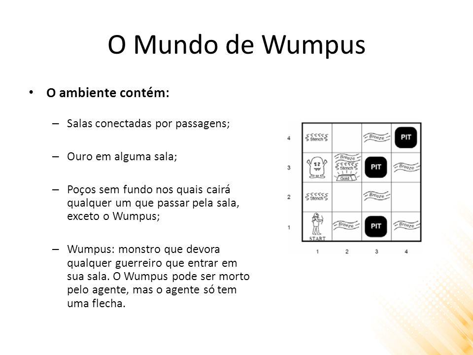 O Mundo de Wumpus Medida de desempenho: +1.000 por pegar ouro, -1.000 se cair em um poço ou for devorado pelo Wumpus, -1 para cada ação executada, -10 pelo uso da flecha.