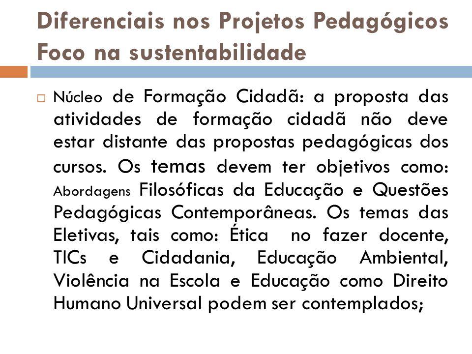 Diferenciais nos Projetos Pedagógicos Foco na sustentabilidade Núcleo de Formação Cidadã: a proposta das atividades de formação cidadã não deve estar