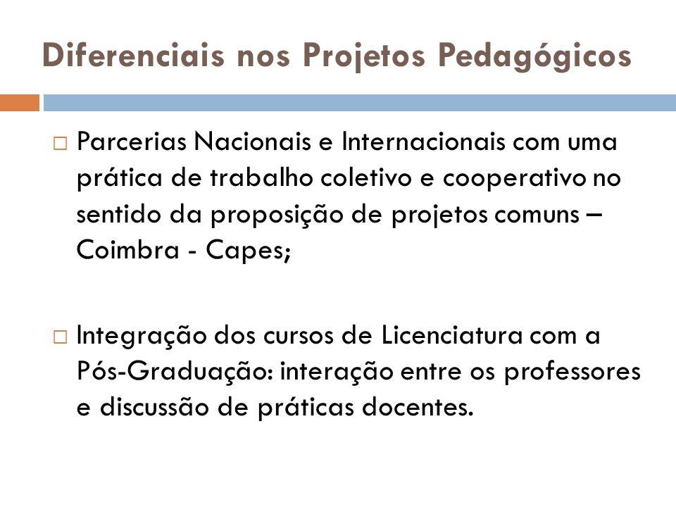 Diferenciais nos Projetos Pedagógicos Parcerias Nacionais e Internacionais com uma prática de trabalho coletivo e cooperativo no sentido da proposição