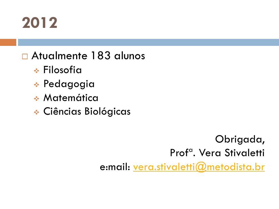 2012 Atualmente 183 alunos Filosofia Pedagogia Matemática Ciências Biológicas Obrigada, Profª. Vera Stivaletti e:mail: vera.stivaletti@metodista.brver