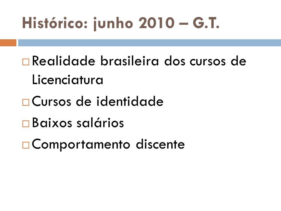 Histórico: junho 2010 – G.T. Realidade brasileira dos cursos de Licenciatura Cursos de identidade Baixos salários Comportamento discente