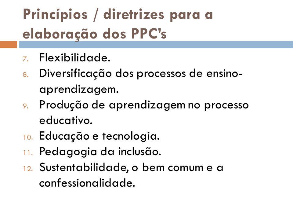 Princípios / diretrizes para a elaboração dos PPCs 7. Flexibilidade. 8. Diversificação dos processos de ensino- aprendizagem. 9. Produção de aprendiza