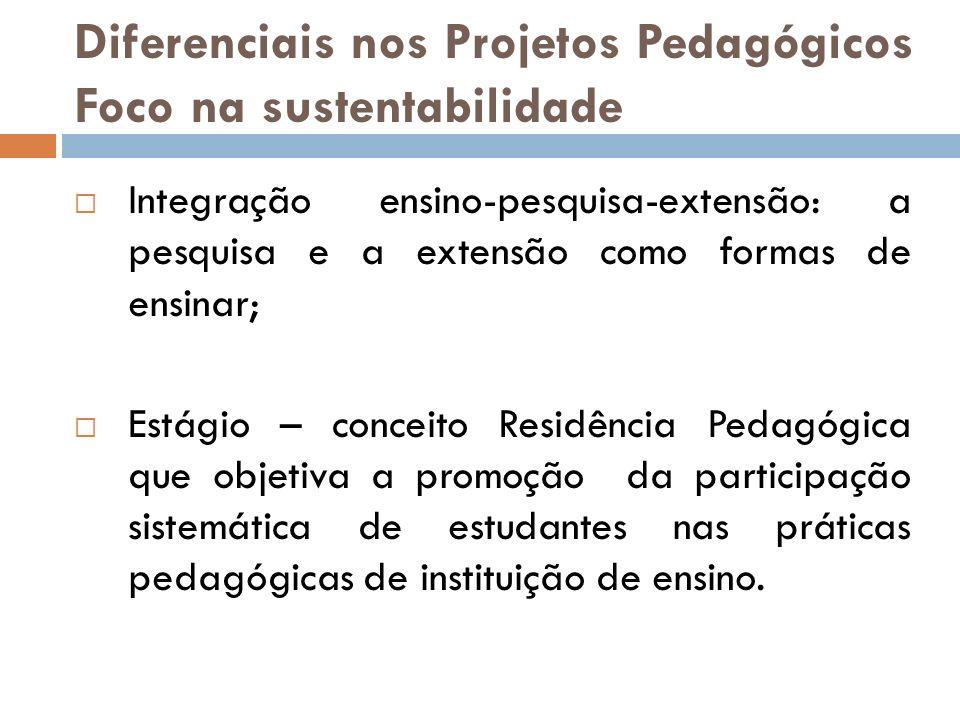 Diferenciais nos Projetos Pedagógicos Foco na sustentabilidade Integração ensino-pesquisa-extensão: a pesquisa e a extensão como formas de ensinar; Es